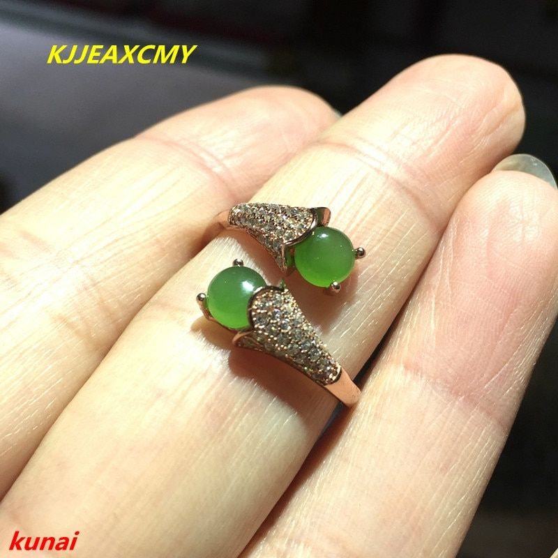 KJJEAXCMY fine jewelry 925 silver inlaid natural jade ring jewelry gk