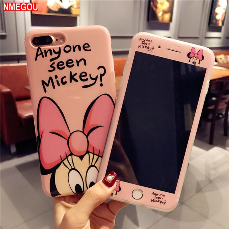 For IPhone X XR XS Max 8 7 6 6S Plus Full Cover Mickey Mouse Women Minnie Silicone Phone Case + Glass Cute Cartoon Estojo Capa