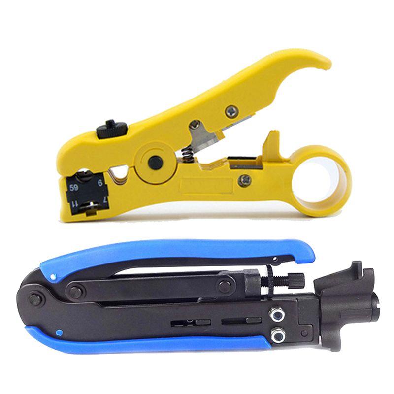 JFBL Hot 2x RG6 RG59 RG11 Coax Coaxial Cable Crimper + Stripper Compression Hand Tool Blue Yellow