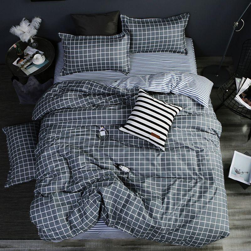 Maison textile AB côté literie ensemble gris géométrique literie housse de couett enfant linge de lit ensemble bleu literie housse de couette ensemble feuille