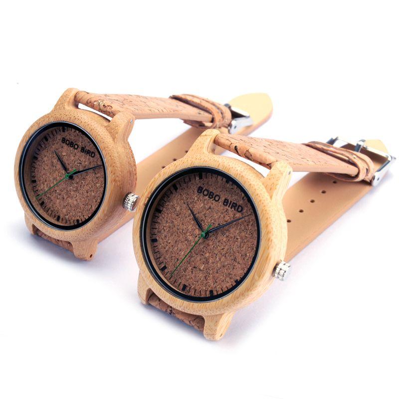 BOBO BIRD M12 montre à Quartz en bois de bambou pour hommes et femmes montres de luxe de marque supérieure avec le mouvement du japon comme cadeau