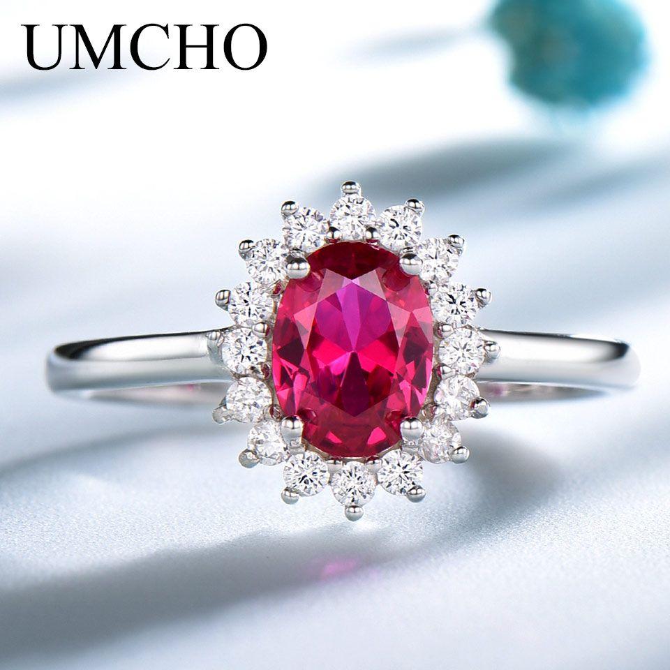 UMCHO Real 925 argent Sterling Nano rouge pierres précieuses rubis anneaux pour les femmes princesse Diana mariage fiançailles fête cadeau bijoux fins