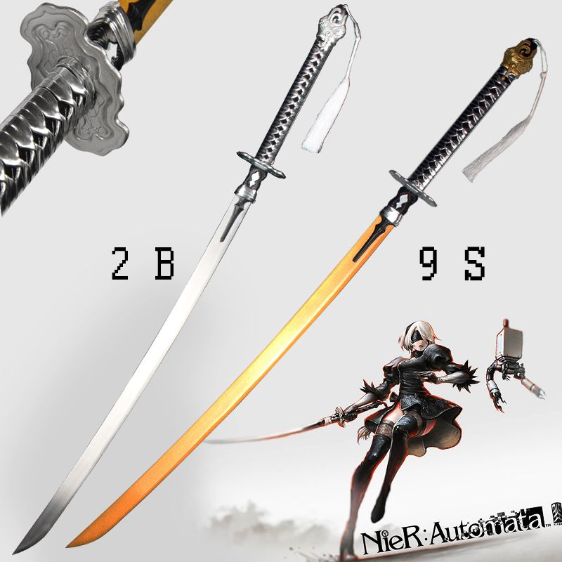 For Game NieR:Automata 2B Sword / 9S's Real Steel Blade Zinc Alloy Cosplay Prop Brand New Supply-Decorative Swords No Sharp