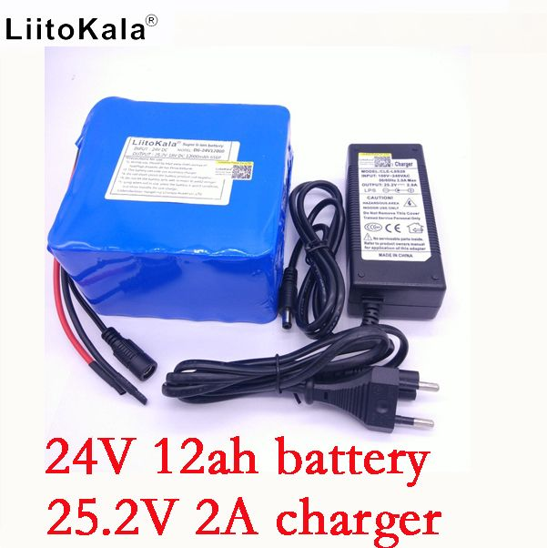 LiitoKala 24v 12ah 6S6P lithium battery pack 25.2V 12000mah battery li-ion for bicycle battery pack 350w e bike 250w motor +2A