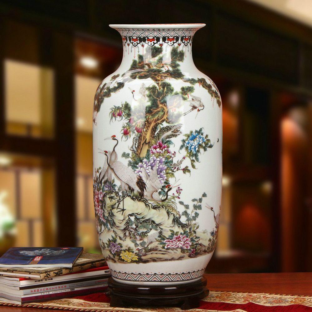 Antique Emaille Jingdezhen große-dekorative-boden-vasen Farbige Emaille mandschurenkranich Schmückt Wohnzimmer Vase