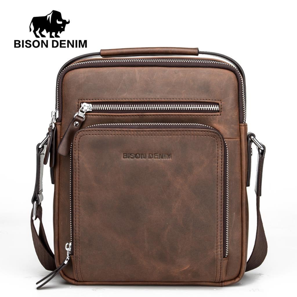 BISON DENIM Genuine Leather Shoulder Bags Fashion Crossbody Business Men's Bag Zipper Small Ipad Male Men's Handbags N2333