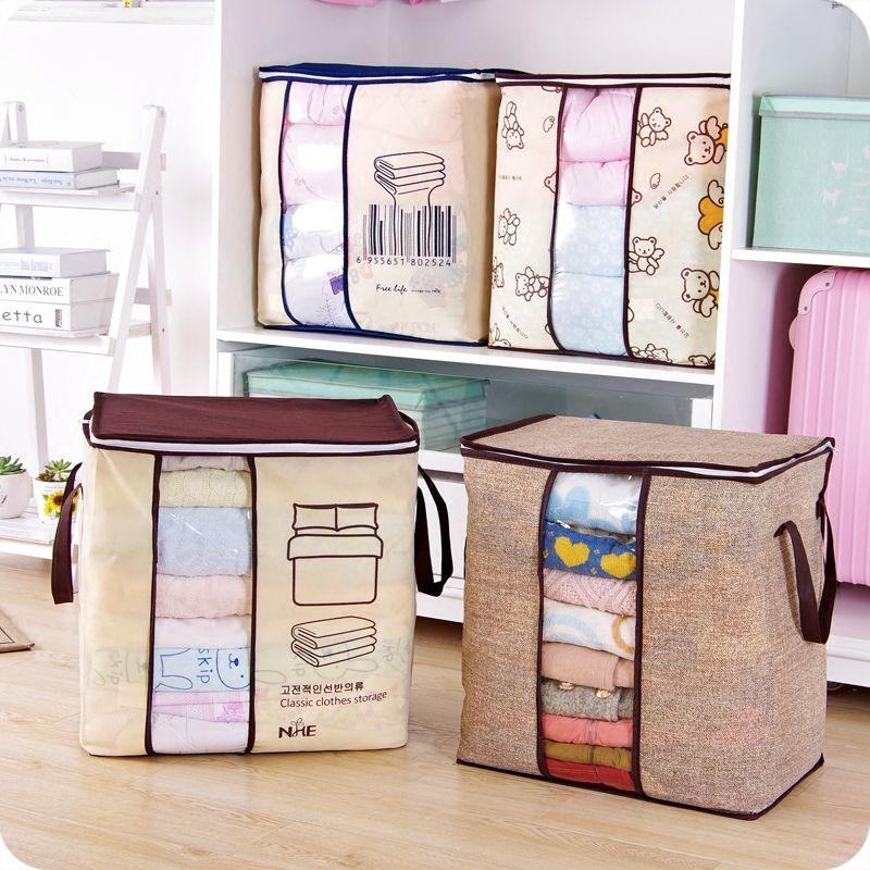 2018 new Non-woven Portable Clothes Storage Bag Organizer 45.5*51*29cm Folding Closet Organizer For Pillow Quilt Blanket Bedding