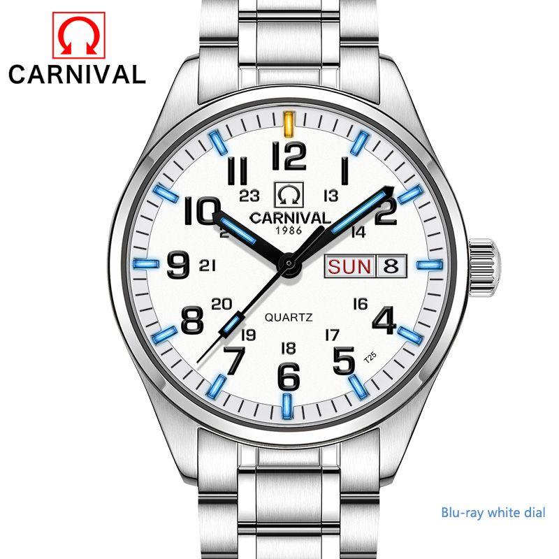 New Double calendar Date Tritium Luminous Quartz military watch waterproof 200M CARNIVAL Sport Brand Watches Mens full steeI