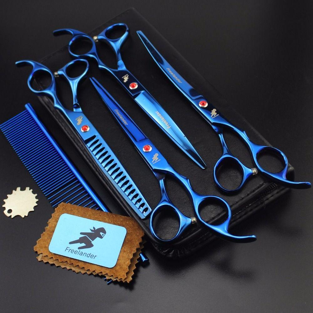 Ensemble de ciseaux de toilettage pour animaux de compagnie 7 pouces ciseaux professionnels pour chiens coupe de cheveux 18 ciseaux incurvés avec sac de peigne