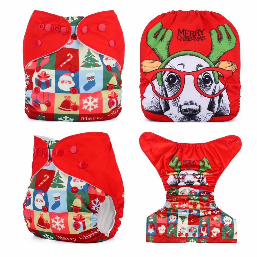 Рождество пеленки детские ткань Подгузники карман Подгузники Многоразовые Один размер подходит nb до 13kgs