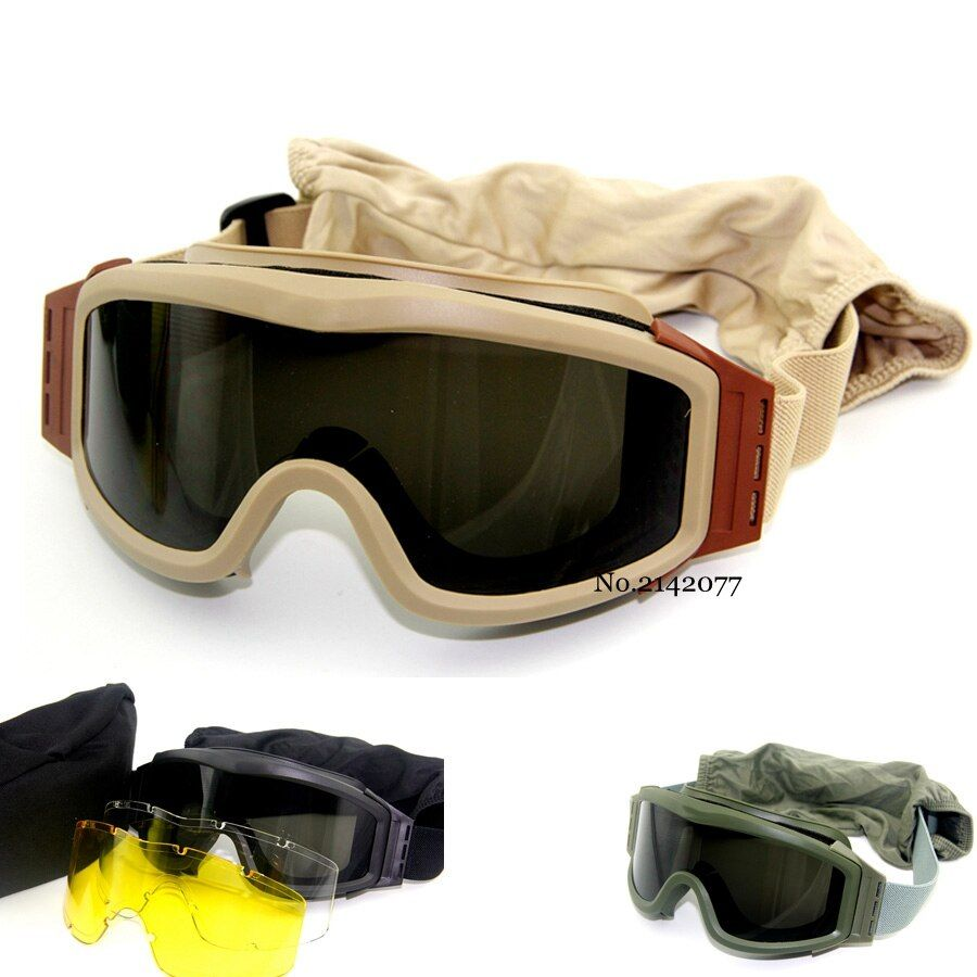 Top Quality Military Airsoft <font><b>Tactical</b></font> Goggles Shooting Glasses GX1000 Black 3 Lens Motorcycle Windproof Wargame Goggles