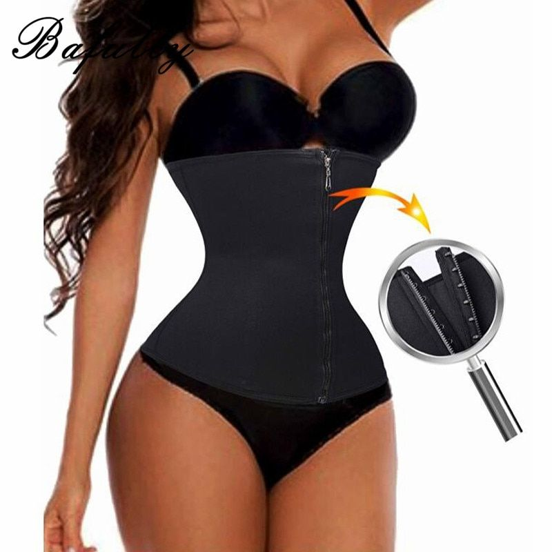 Plus Size Waist Trainer with Zipper Hot Corset Slimming Belt Tummy Control Body Shaper Shapewear Modeling Strap Waist Trainer