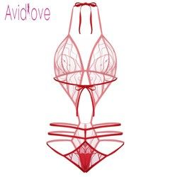 Avidlove 2018 New Lingerie Sexy Erotic Hot Bodysuit Women Transparent Lace Teddy Mesh Body Nightwear Sex Intimates Products