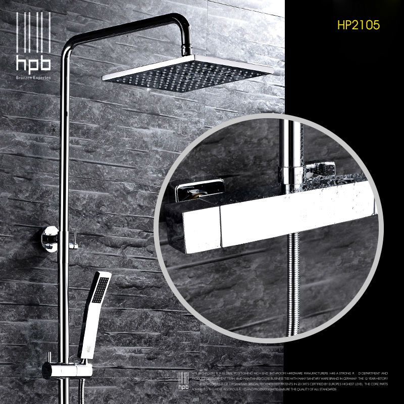 HPB Brass Thermostatic Bathroom Hot And Cold Water Mixer Bath Shower Set Faucet torneira banheiro Shower Head HP2105