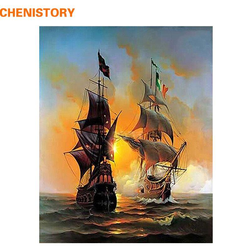 CHENISTORY paysage marin bateau à voile Europe Art toile peinture à la main par numéros peinture à l'huile sur toile décor à la maison 40*50cm