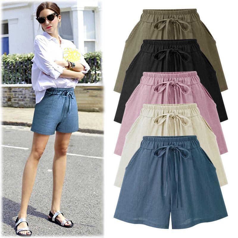 5XL&6XL Summer Plus Size 2018 Hot High Waist Cotton Linen Womens Colored Skinny Wide Leg Shorts <font><b>Pantalon</b></font> Femmes Short Feminino