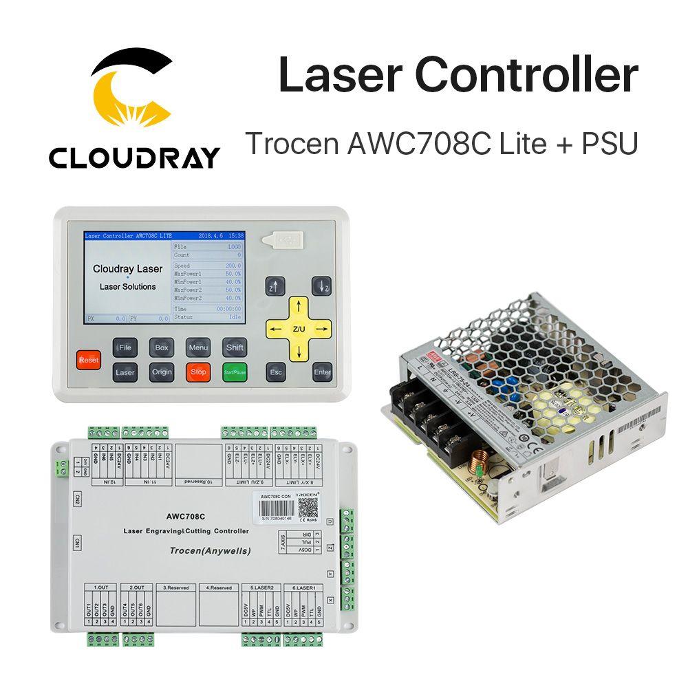 Cloudray Trocen Anywells AWC708C Lite Co2 Laser Controller System + Meanwell 24 v 3.2A 75 watt Schalt Netzteil