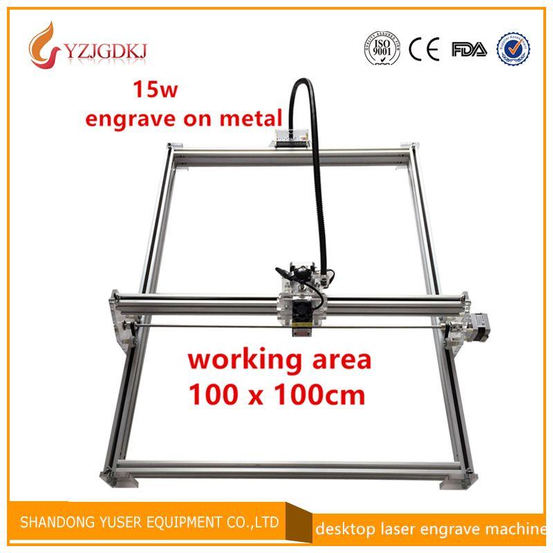 diy mini laser engraving machine ,15w laser cutter metal marking machine support english software work size 1*1m laser engraver