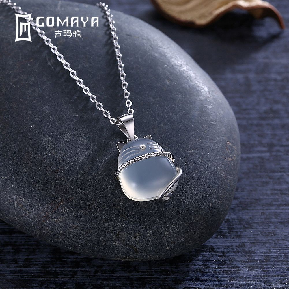 GOMAYA Women Child 925 Sterling Silver Cat Moonstone Pendant Necklace Clear Crystal Chain Natural Stone Jewelry Collares Mujer