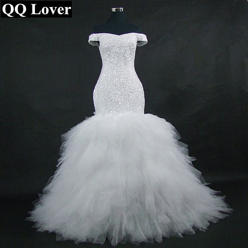 QQ Lover 2018 New Off the Shoulder Mermaid Wedding Dress Custom-Made Plus Size Bride African Wedding Gown