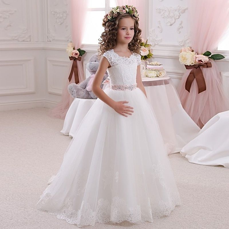 Реальная фотография платья для свадебных церемоний с кружевом айвори и белого цвета бальные платья длиной до пола для девочек платье для пе...