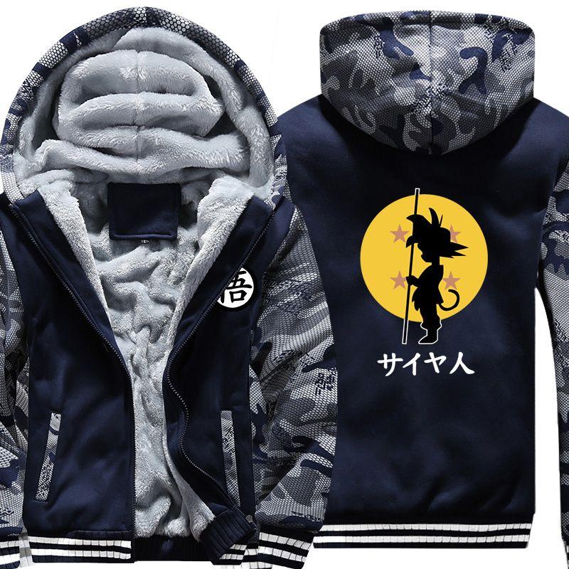 USA SIZE Dragon Ball Son Goku Printed Men's Hoodies Sweatshirts Design Camouflage Jackets Winter Thicken Fleece Warm Men's Coat