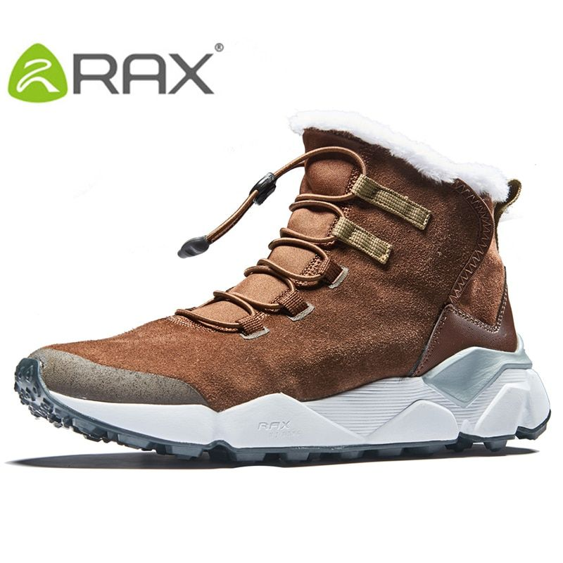 2017 RAX Outdoor Hiking Boots For Men Breathable Snow boots Man Leather Walking Shoes Hiking Shoes Fleece Winter Boots