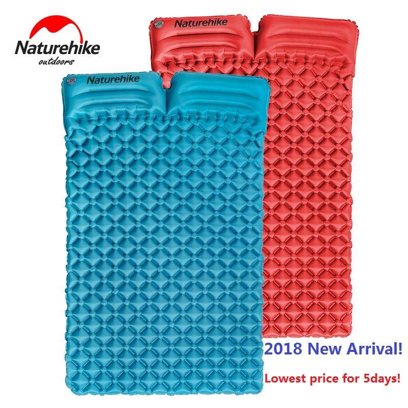 Naturehike factory store Ultralight Sleeping Mattress with Pillow outdoor Camping Moisture-Proof Inflatable egg slot Mat Air Bed