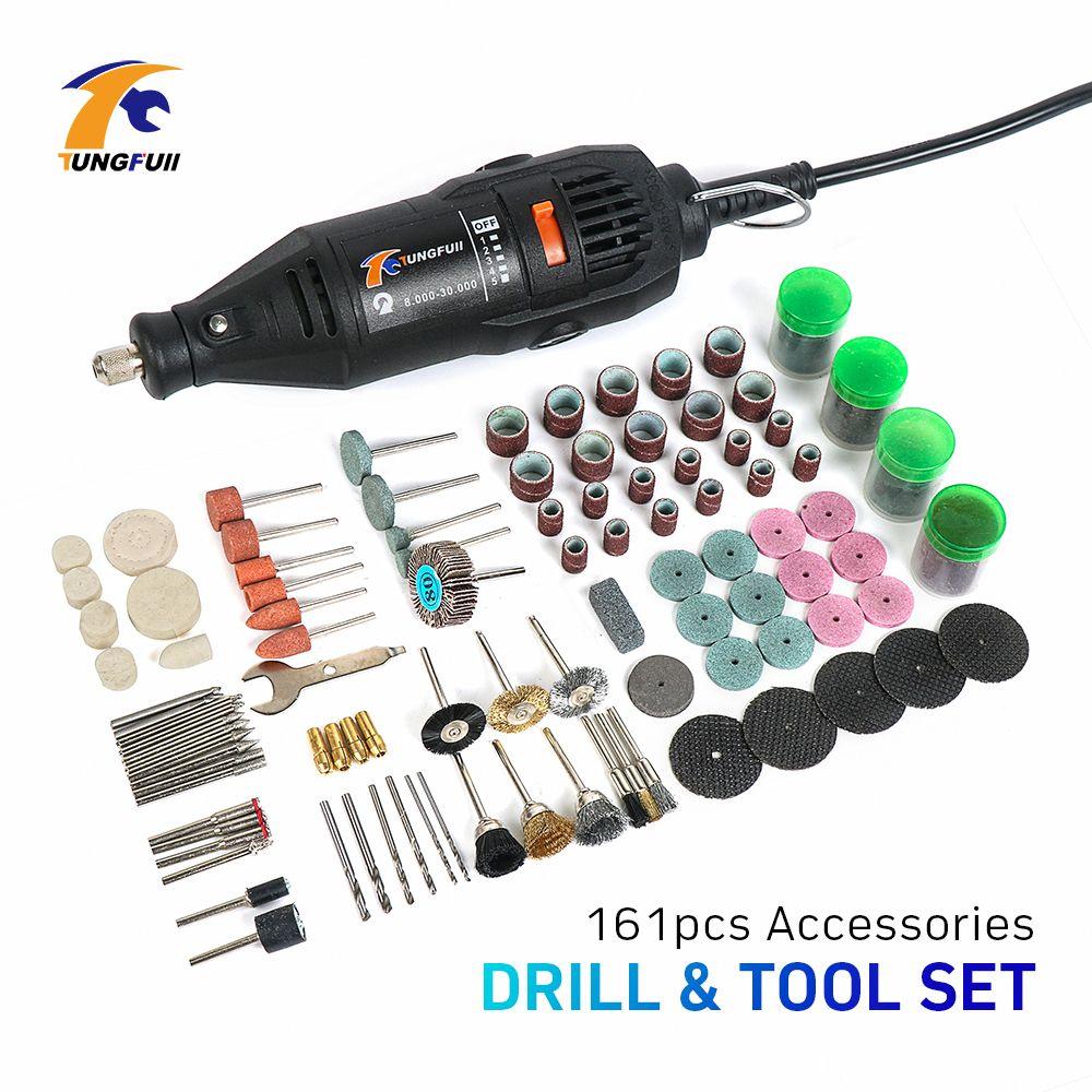 Tungfull DREMEL style ROTARY TOOLS Electric grinder 161Pcs Electric Rotary Grinder Polish Sanding Tool Kit Mini Drill