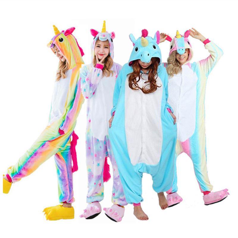 2018 Новый Onesie Оптовая продажа животных stitch star Единорог Kigurumi взрослых унисекс Для женщин пижамы с капюшоном пижамы для взрослых зима fannel