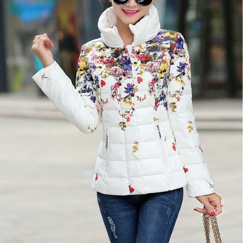 2017 Winter women jacket casual women's print down cotton-padded coat jacket short design slim flower wadded parka