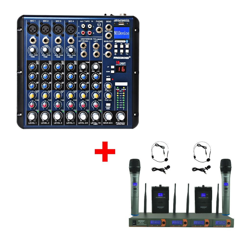 FREEBOSS FB-V04H2 VHF Handheld and Headset Wireless microphone + SMR8 Audio Mixer
