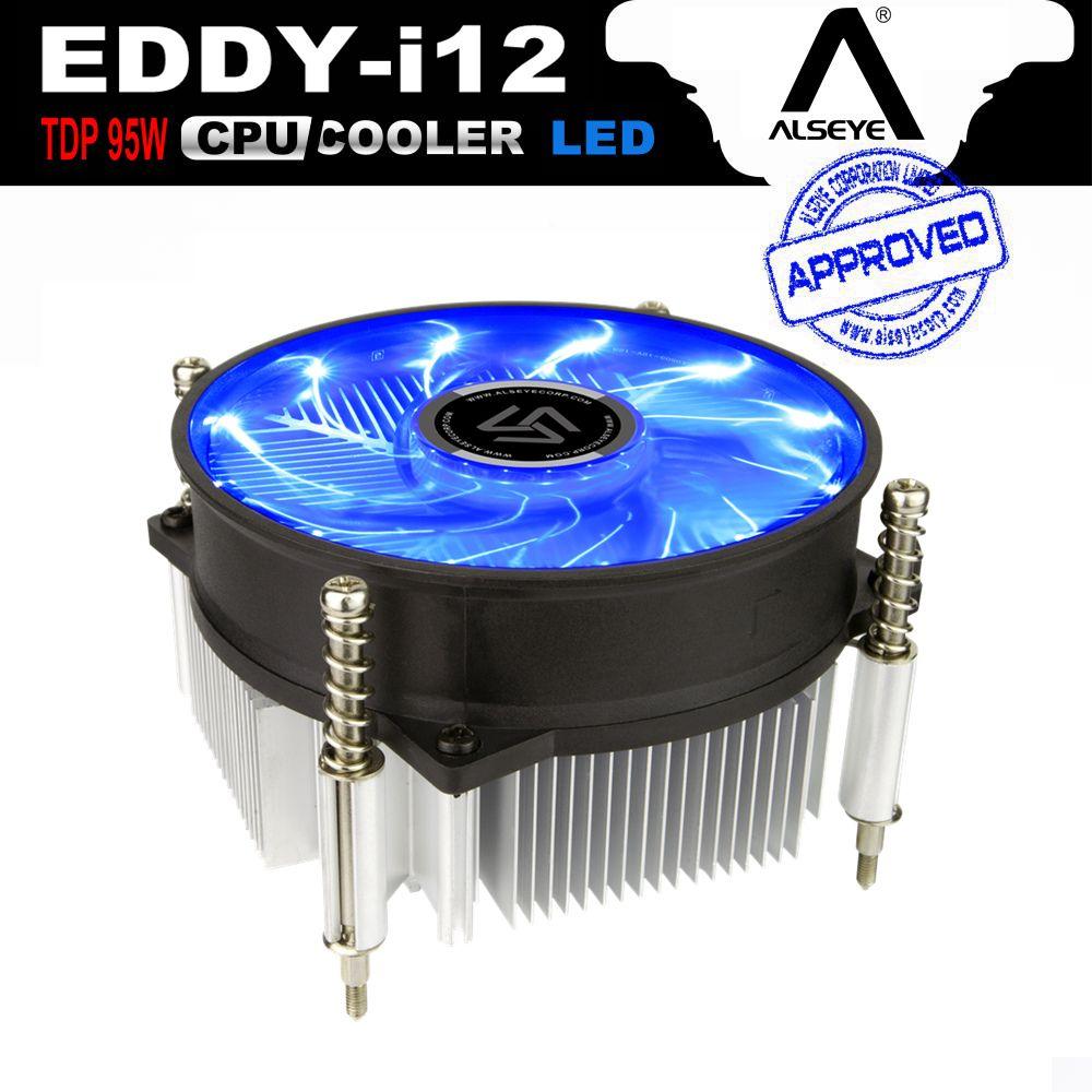 ALSEYE CPU Radiateur avec 90mm LED CPU Ventilateur, TDP 95 W 0.23A 2200 RPM CPU Refroidisseur pour LGA 1150/1151/1155/AM2/AM2 +/AM3/AM3 +/AM4