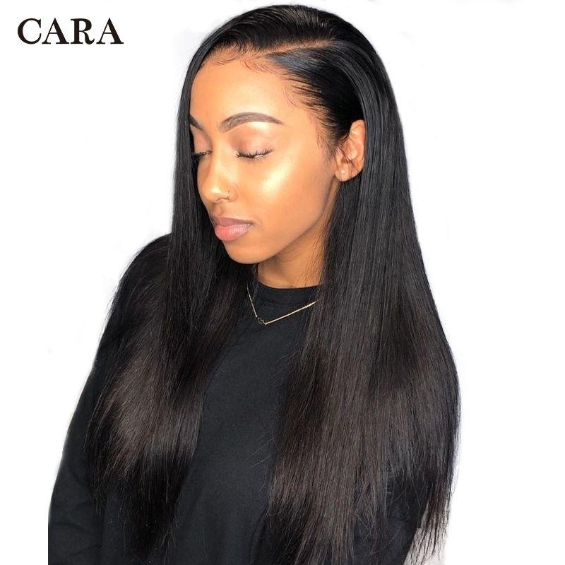 Perruques de cheveux humains avant de dentelle pour les femmes droites 250% perruque de dentelle sans colle brésilienne avec des cheveux de bébé naturel noir 13x4 Remy perruques CARA