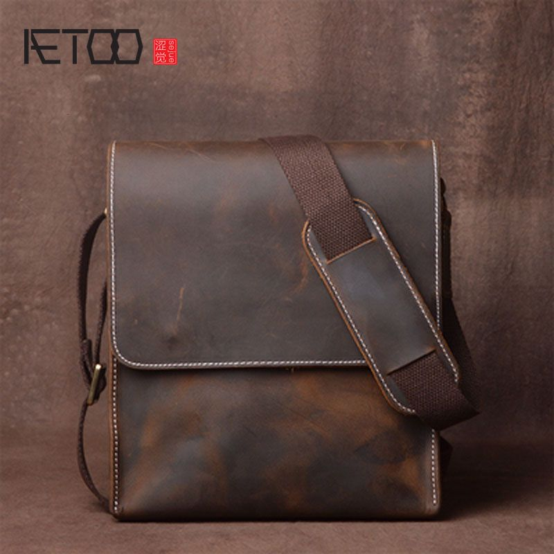AETOO Men's Shoulder Bag Leather Handle Messenger Bag Small Vintage Handmade Crazy Horse Leather Bag