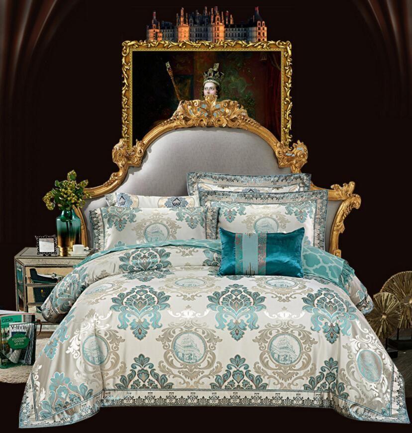 European Style Embroidered Home Textile Jacquard Bedding set Silk/Cotton Bed set Satin Duvet Cover Bedsheet Queen King Size 4PCS