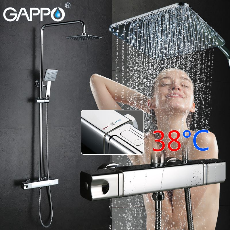 GAPPO Shower System bathroom shower thermostat faucet mixer tap waterfall wall mount mostatic shower bath mixer faucets taps