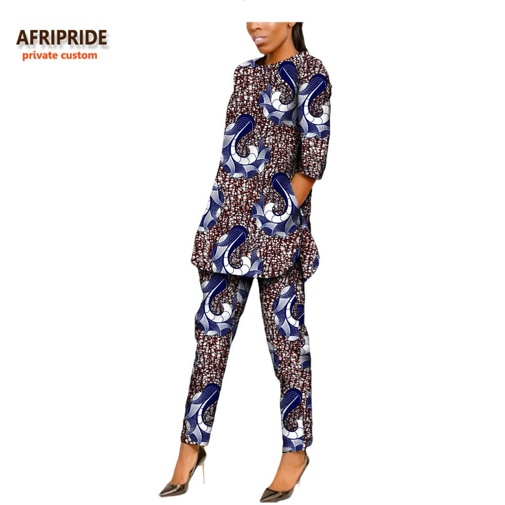 2018 autumn african style women suit AFRIPRIDE private custom half sleeve side open top+ankle-length pant casual suit A722623