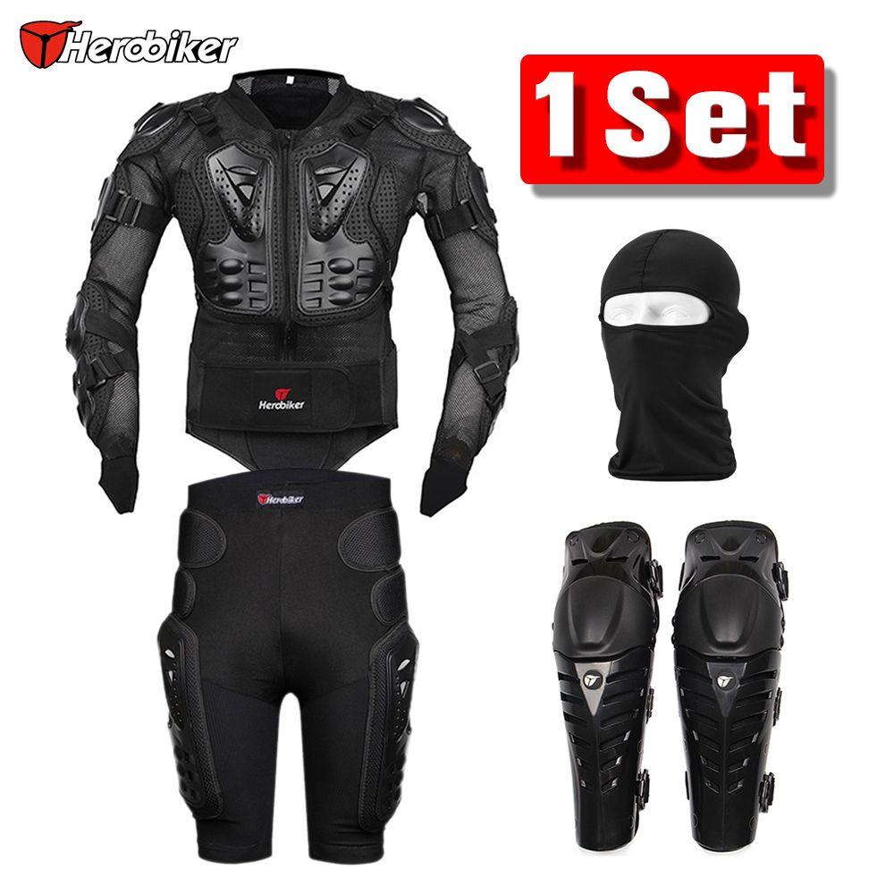 Herobiker Motorradjacke Körper Rüstung Schutzausrüstung + Shorts Hosen hüfte Protector + Motocross Knieschützer + Gesichtsmaske Set anzug