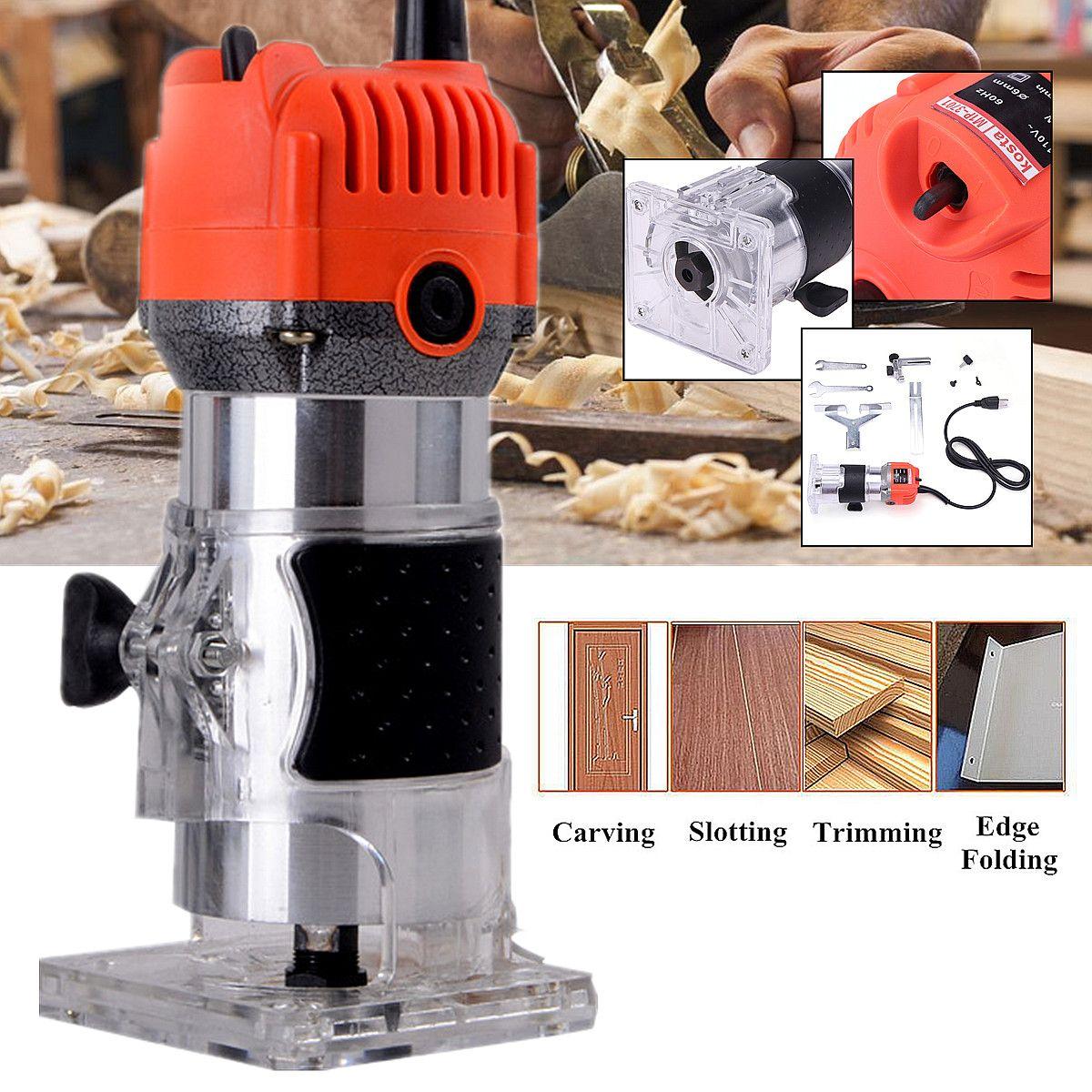110 v 750 watt 1/4 60 hz 30000r/min Corded Elektrische Hand Trimmer Holz Laminator Router Pvc-h-streifen Schreiner Werkzeuge externe Carbon Pinsel Lift Knopf