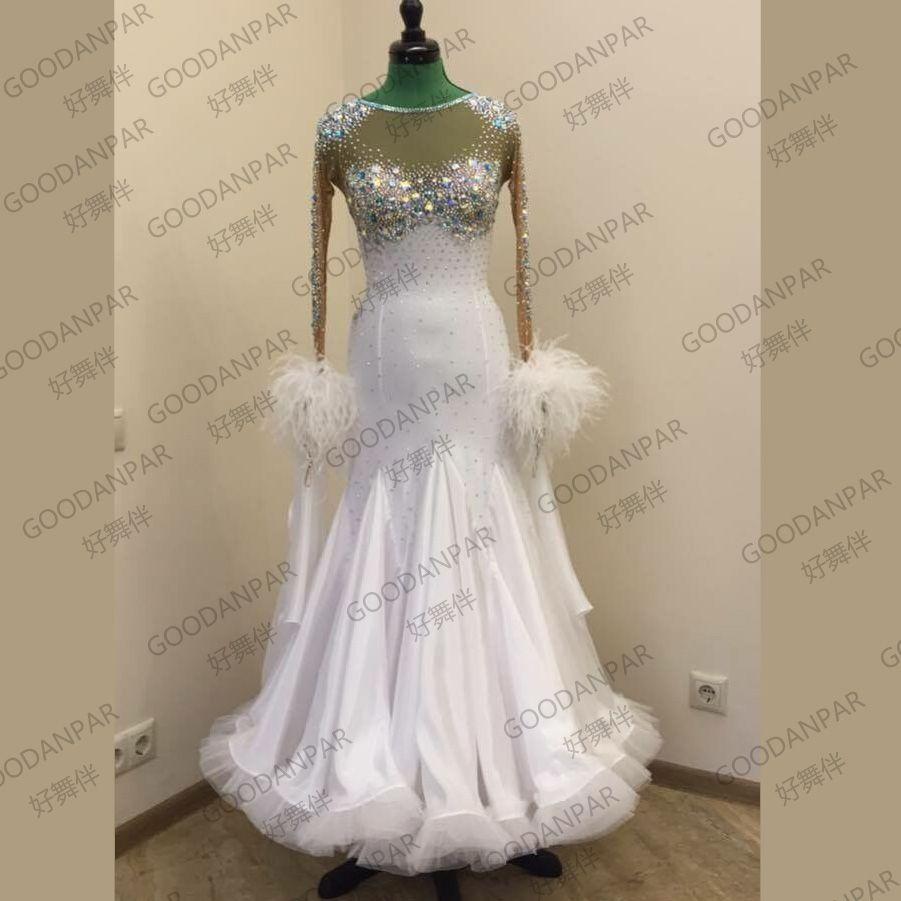 Neue! Kostüme ballroom dance kleid für frauen ballroom dance wettbewerb kleider Langarm standard kleid weiß tanzen kleidung