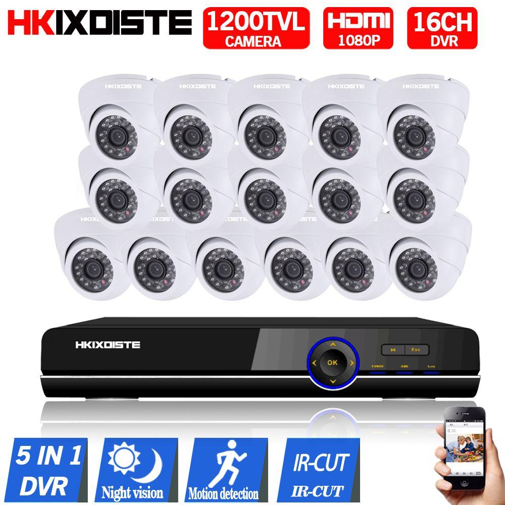 16CH AHD 1080P DVR 16PCS CCD 720P 1200TVL IR Night Vision Surveillance Camera Home Outdoor Video Camera CCTV Security Camera