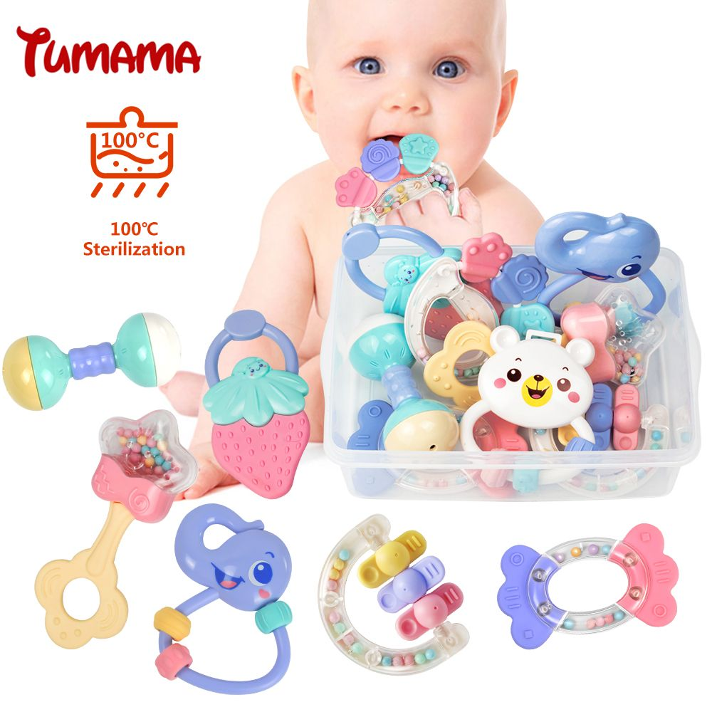Baby Rattles Toys 8pcs Teether Music Hand Shake Bed Bell Newborns Plastic Animal Rattles <font><b>Gift</b></font> Educational Baby Toys 0-12 Months