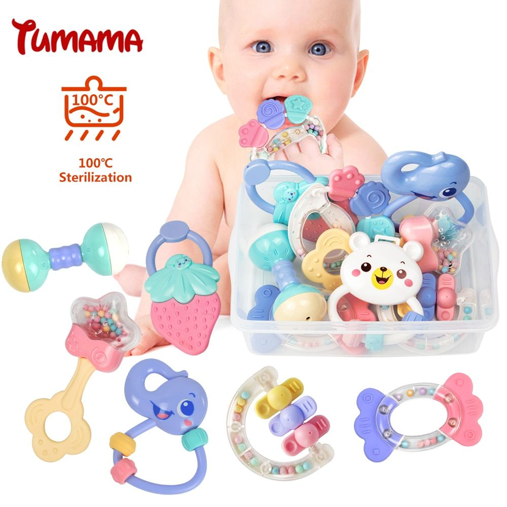 Baby Rattles Toys <font><b>8pcs</b></font> Teether Music Hand Shake Bed Bell Newborns Plastic Animal Rattles Gift Educational Baby Toys 0-12 Months