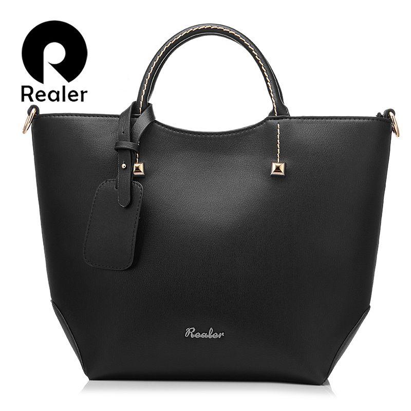 REALER women handbag large bucket shoulder messenger bag female high quality <font><b>artificial</b></font> leather totes fashion ladies top-handle