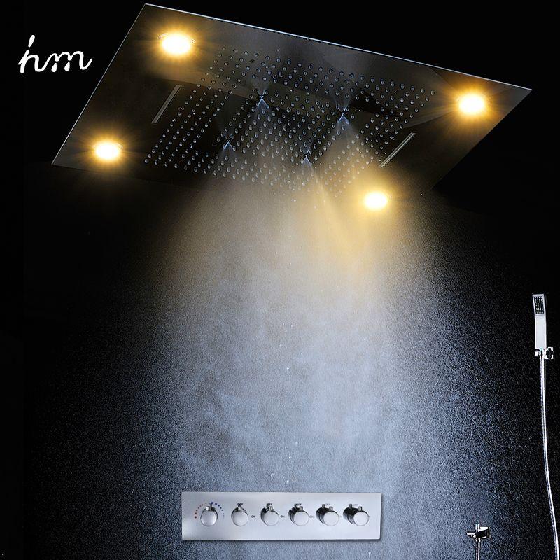 Luxus Led Regen Dusche Kopf Große Regen LED Dusche Set & Wasserfall Dusche Kopf mit Embedded Decke Auslauf Bad & dusche Armaturen