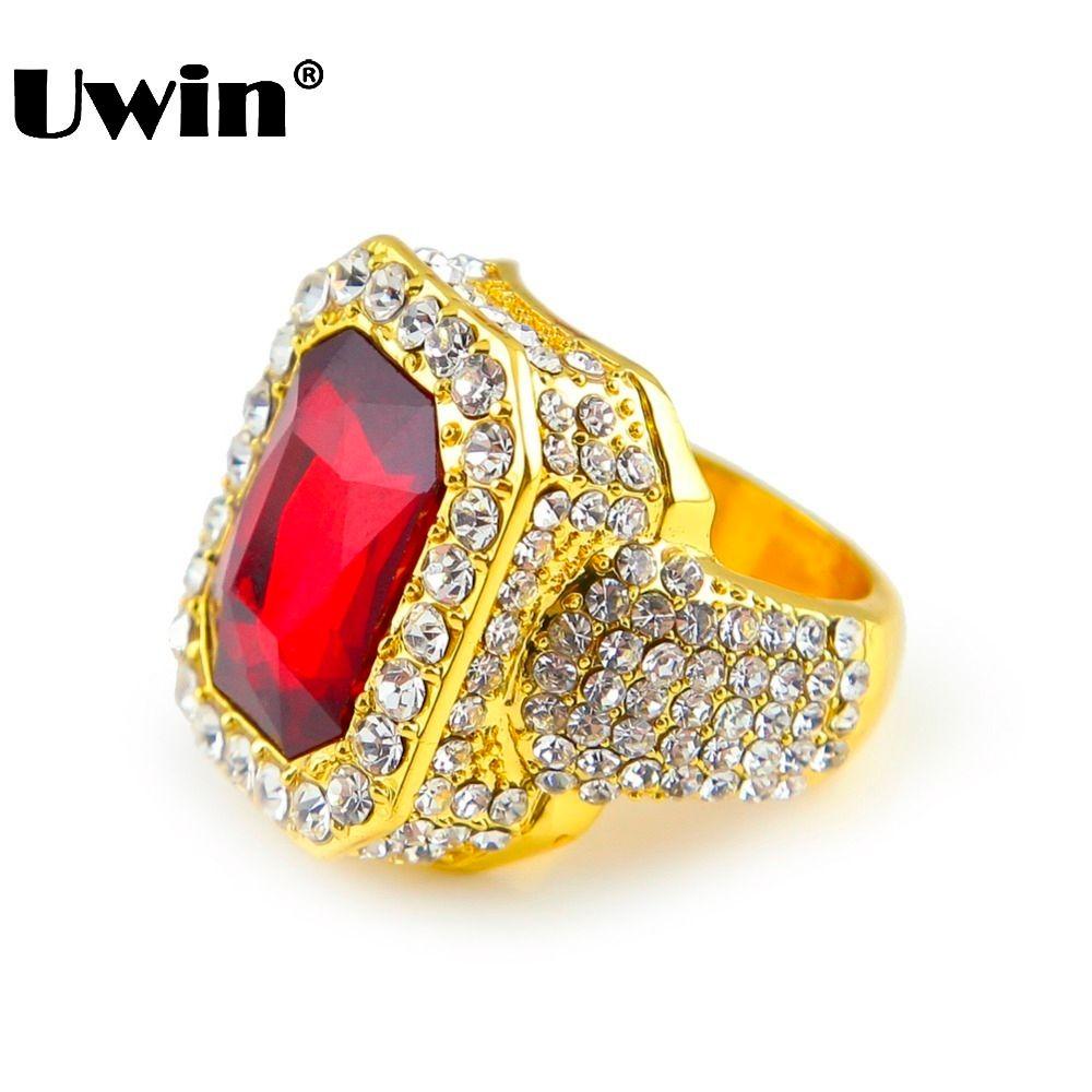 Hommes couleur or Hip Hop glacé pierre rouge Cz taille de bague disponible luxe femme anneau hommes mode doigt Bling Hip Hop anneau