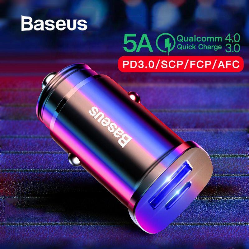 Chargeur de voiture Baseus 30 W double USB C PD chargeur rapide QC 4.0 pour chargeur de téléphone portable chargeur rapide USB PD Type C AFC SCP chargeur de téléphone de voiture