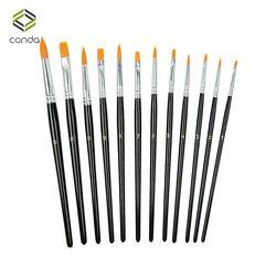 Conda 12pcs Nylon Hair Paint Brush Set Artist Brush Watercolor Acrylic Oil Painting School Supplies Black Drawing Water Brush
