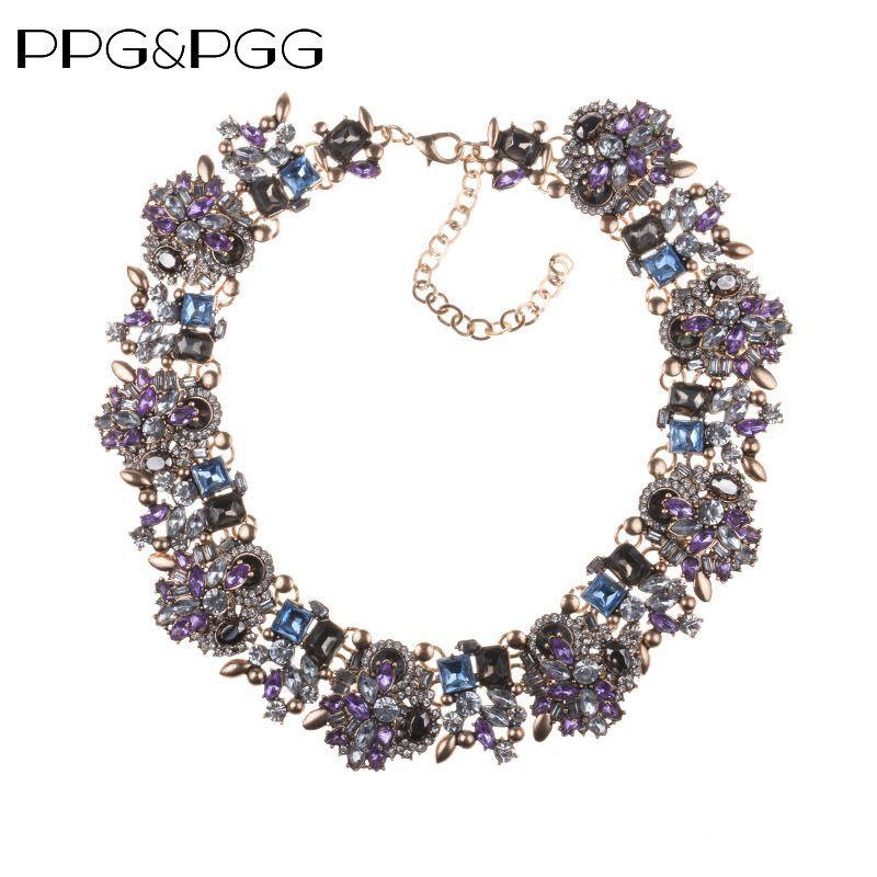PPG & PGG bijoux de mode femmes de luxe collier en strass violet cristal bavoir tour de cou déclaration colliers pendentifs